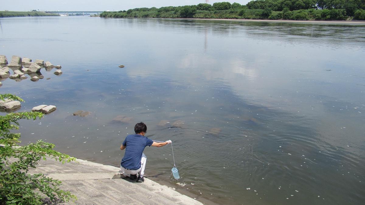 川などでバケツなど使って採水する写真